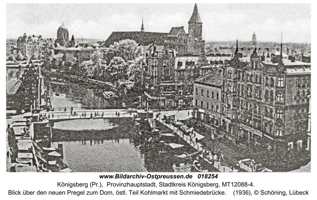 Königsberg, Blick über den neuen Pregel zum Dom, Schmiedebrücke