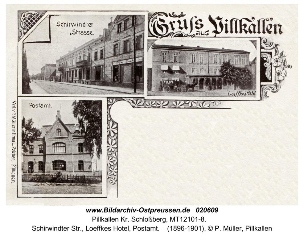 Pillkallen Kr. Schlossberg, Schirwindter Str., Loeffkes Hotel, Postamt
