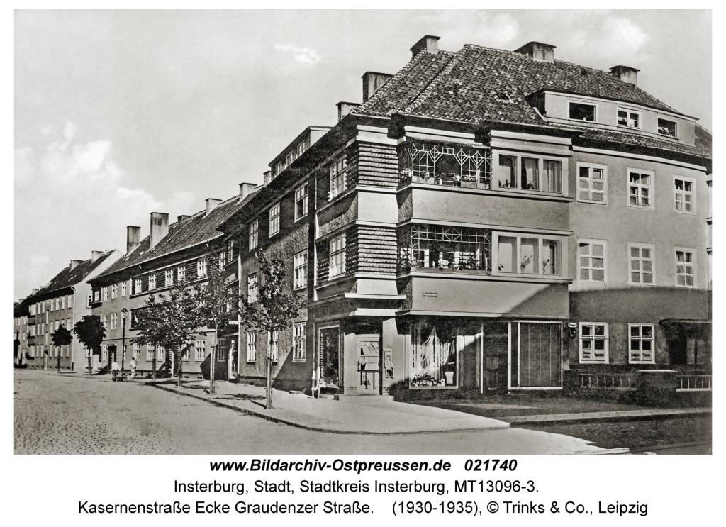 Insterburg, Kasernenstraße Ecke Graudenzer Straße