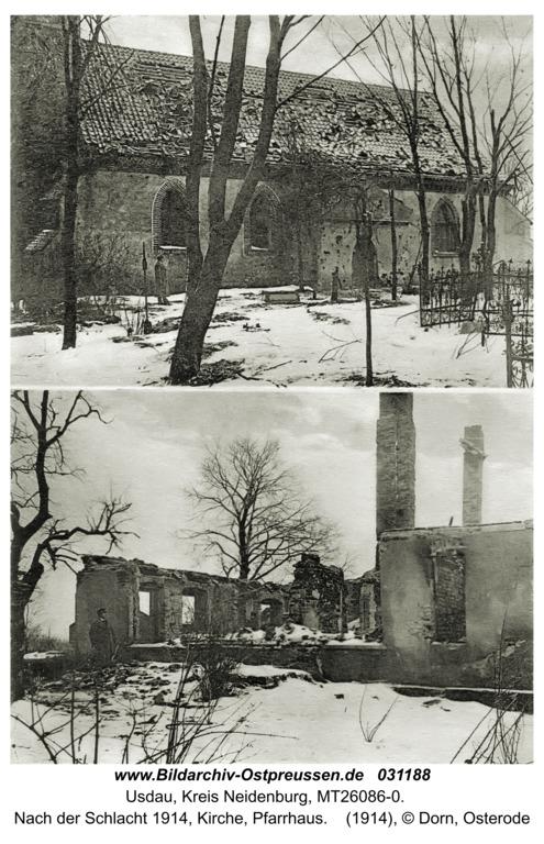 Usdau, nach der Schlacht 1914, Kirche, Pfarrhaus