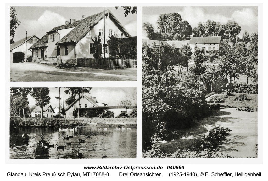 Glandau Kr. Preußisch Eylau, Drei Ortsansichten