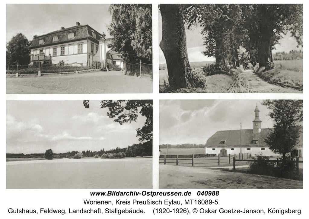 Worienen Kr. Preußisch Eylau, Gutshaus, Feldweg, Landschaft, Stallgebäude
