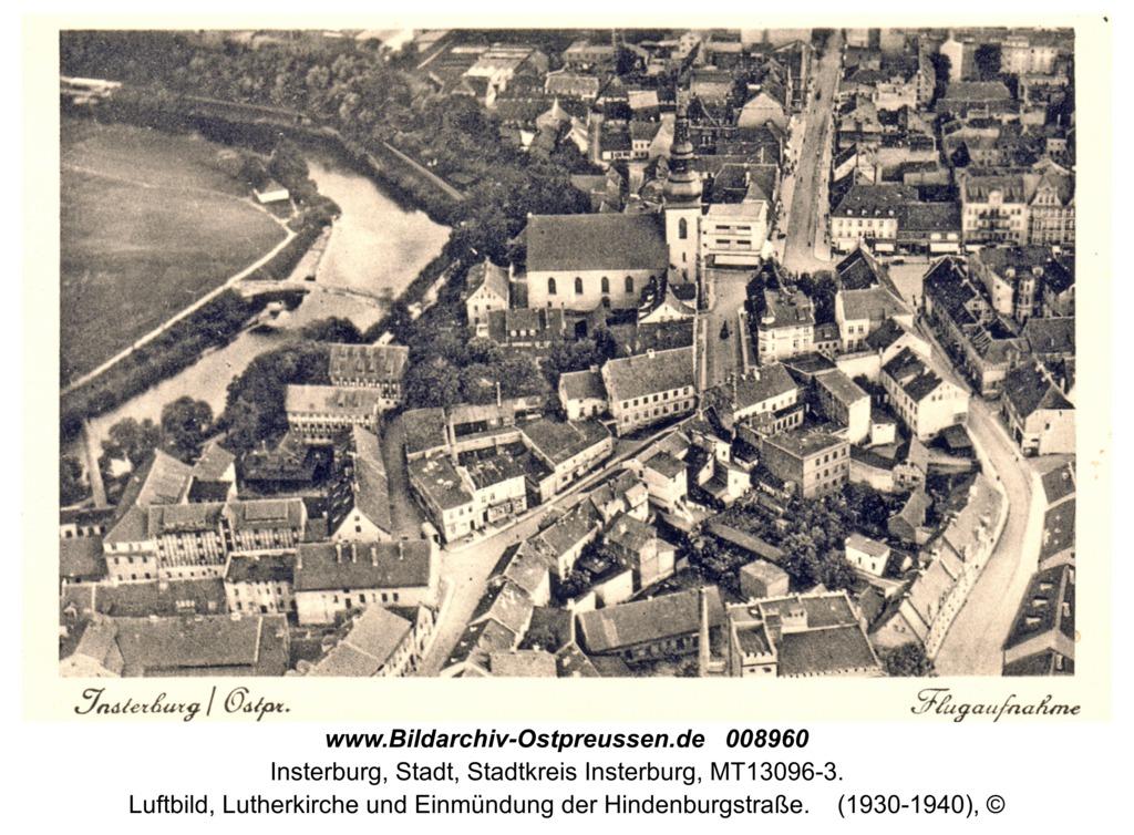 Insterburg, Luftbild, Lutherkirche und Einmündung der Hindenburgstraße