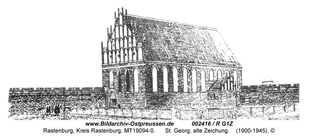 Rastenburg, St. Georg, alte Zeichnung