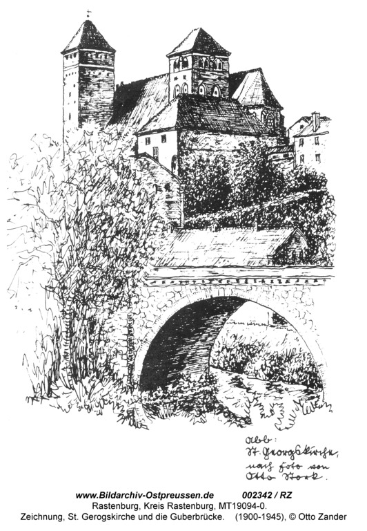 Rastenburg, St. Georg und die Guberbrücke, Zeichnung