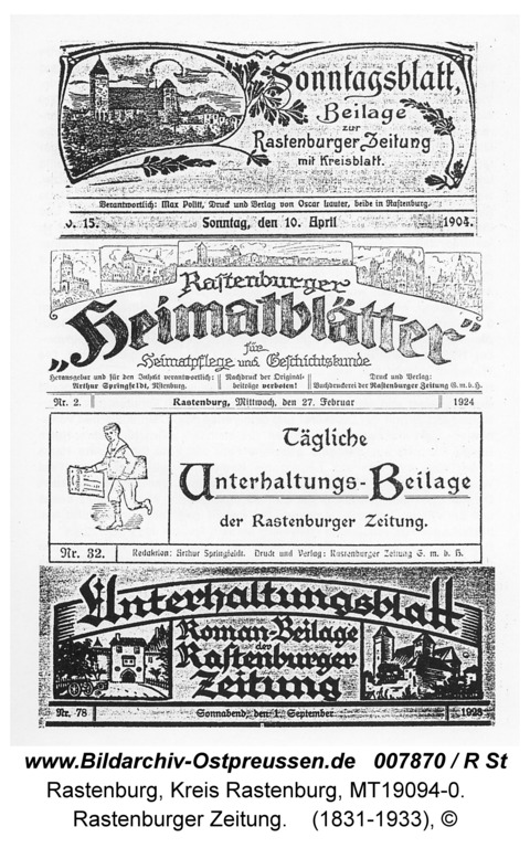 Rastenburg, Alter Markt, Rastenburger Zeitung