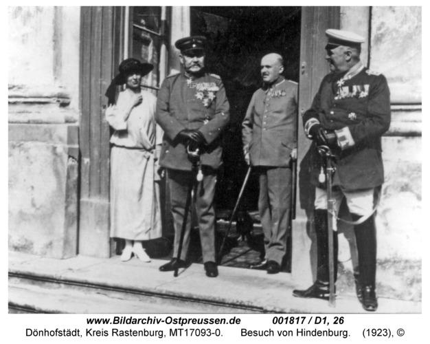 Dönhofstädt, Schloß, Besuch von Hindenburg