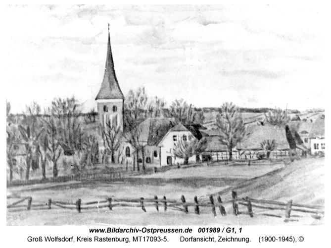 Groß Wolfsdorf, Dorfansicht, Zeichnung