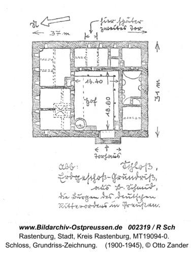 Rastenburg, Schloss, Grundriss-Zeichnung