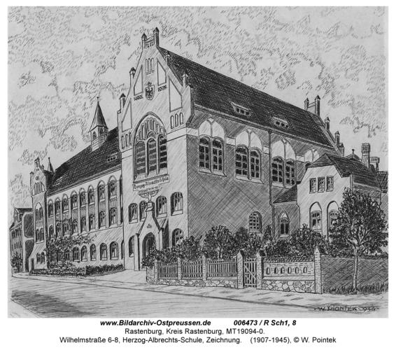 Rastenburg, Wilhelmstraße 6-8, Herzog-Albrechts-Schule, Zeichnung