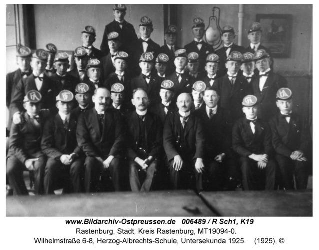 Rastenburg, Wilhelmstraße 6-8, Herzog-Albrechts-Schule, Untersekunda 1925