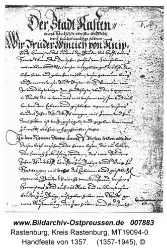 Rastenburg, Handfeste von 1357