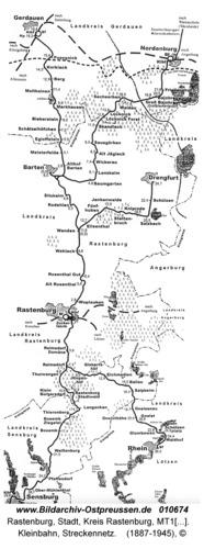 Rastenburg, Kleinbahn, Streckennetz