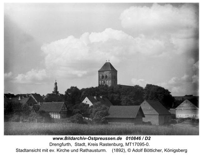Drengfurth, Stadtansicht mit ev. Kirche und Rathausturm