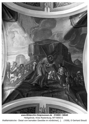Heiligelinde, Wallfahrtskirche - Detail vom bemalten Gewölbe im nördlichen Seitenschiff