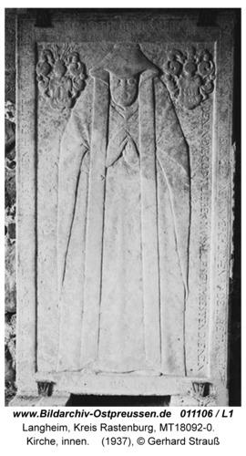Langheim, Kirche, innen, Grabplatte
