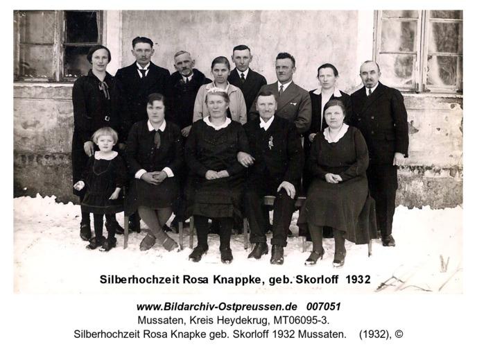 Silberhochzeit Rosa Knapke geb. Skorloff 1932 Mussaten