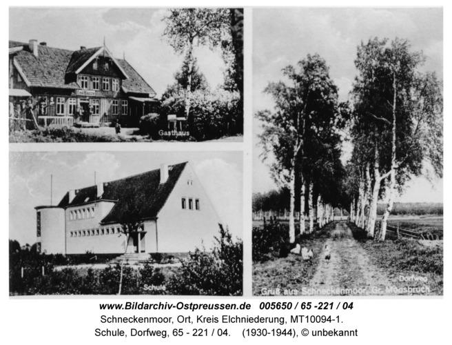 Schneckenmoor; Ansichtskarte mit Gasthaus, Schule, Dorfweg, 65 - 221 / 04