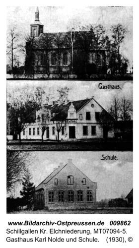 Hochdünen/Schillgallen mit katholischer Kirche, Gasthaus Karl Nolde und Schule