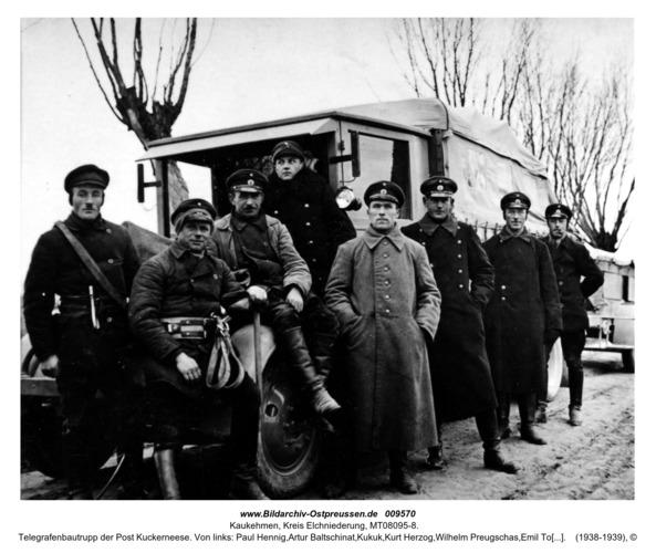 Telegrafenbautrupp der Post Kuckerneese. Von links: Paul Hennig,Artur Baltschinat,Kukuk,Kurt Herzog,Wilhelm Preugschas,Emil Tomuschat,Rosenat,Otto Müller