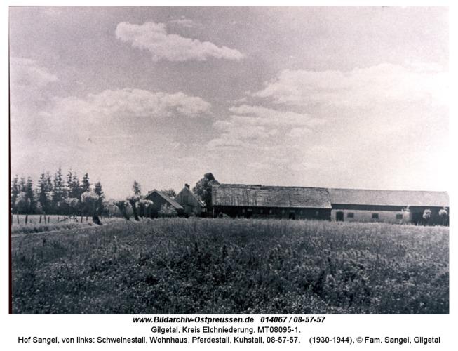 Gilgetal 57, Hof Sangel, von links: Schweinestall, Wohnhaus, Pferdestall, Kuhstall, 08-57-57