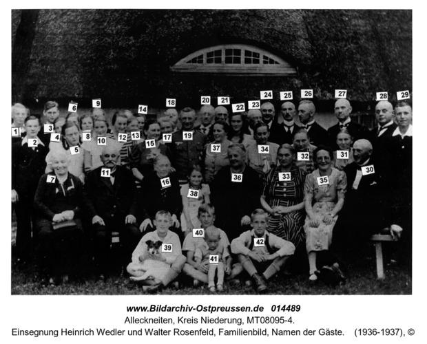 Alleckneiten, Einsegnung Heinrich Wedler und Walter Rosenfeld, Familienbild, Namen der Gäste