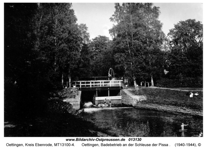 Groß Trakehnen, Oettingen, Badebetrieb an der Schleuse der Pissa