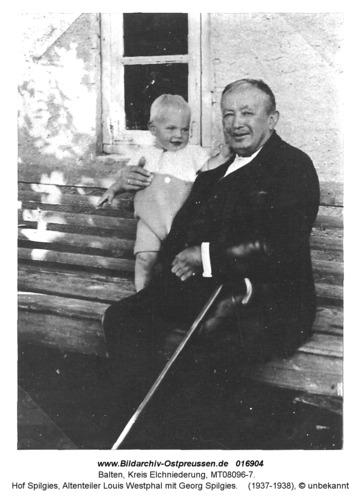 Balten, Hof Spilgies, Altenteiler Louis Westphal mit Georg Spilgies