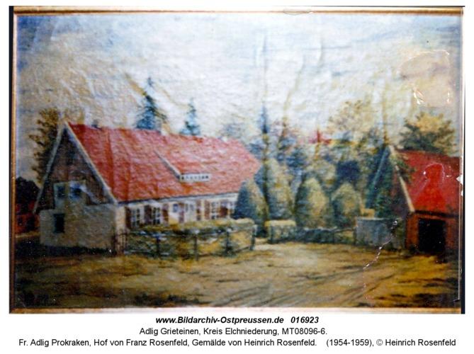 Adlig Grieteinen, fr. Adlig Prokraken, Hof von Franz Rosenfeld, Gemälde von Heinrich Rosenfeld