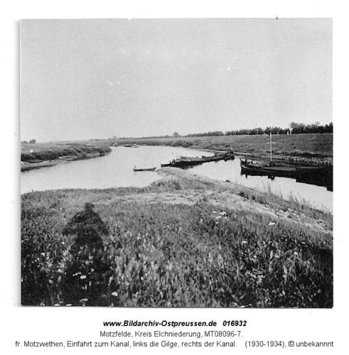 Motzfelde, fr. Motzwethen, Einfahrt zum Kanal, links die Gilge, rechts der Kanal