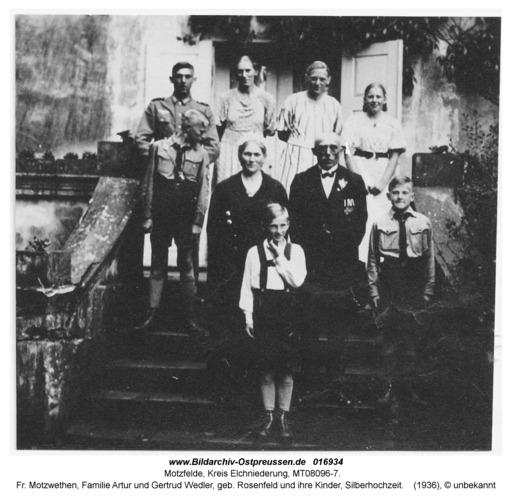 Motzfelde, fr. Motzwethen, Familie Artur und Gertrud Wedler, geb. Rosenfeld und ihre Kinder, Silberhochzeit
