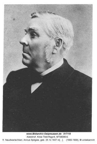 Adelshof, fr. Naudwarischken, Annus Spilgies, geb. 25.12.1837 in Schillgallen im Memelland, Preussischer Landtagsabgeordneter