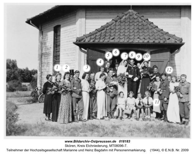 Skören, Teilnehmer der Hochzeitsgesellschaft Marianne und Heinz Bagdahn mit Personenmarkierung