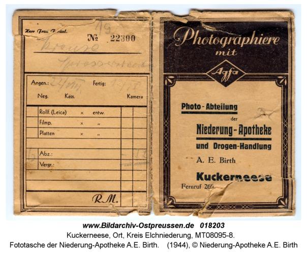 Kuckerneese, Fototasche der Niederung-Apotheke A.E. Birth