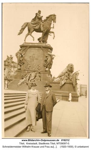 Tilsit, Schneidermeister Wilhelm Krause und Frau aus Tilsit, Goldschmiedestr. 53 auf Reisen