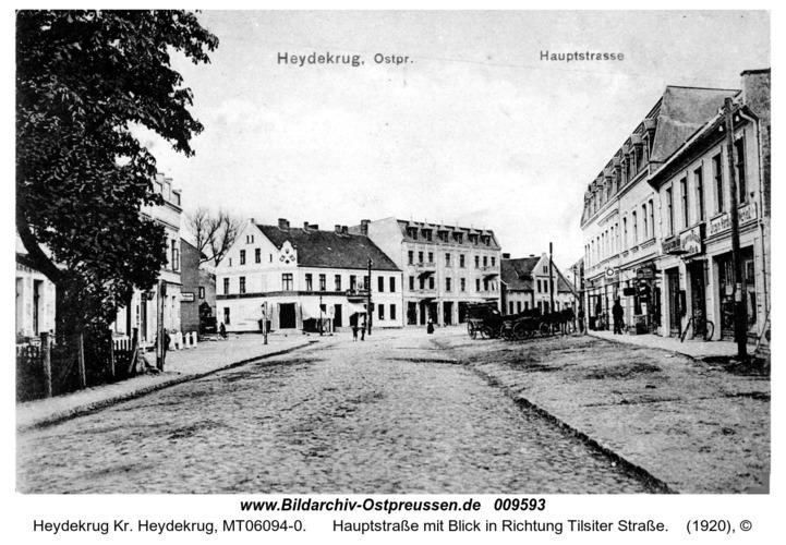 Heydekrug, Hauptstraße mit Blick in Richtung Tilsiter Straße