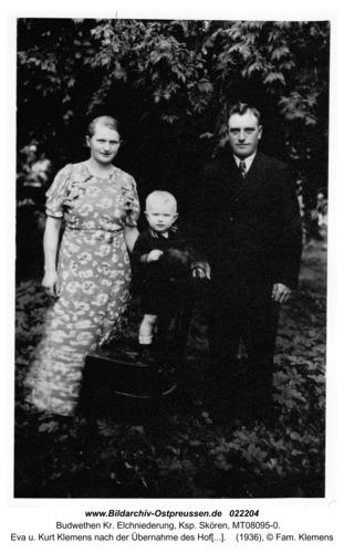 Budwethen Kr. Elchniederung, Ksp. Skören, Eva u. Kurt Klemens nach der Übernahme des Hofes mit Sohn Ulrich 1936