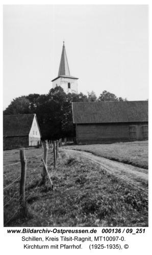 Schillen, Kirchturm mit Pfarrhof