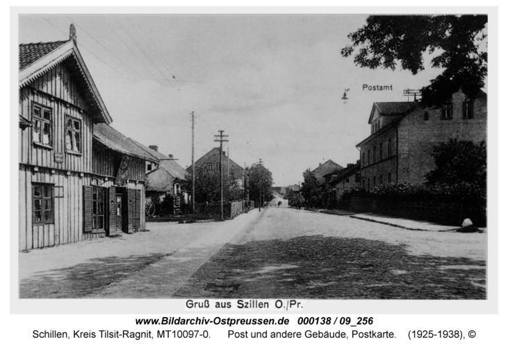 Schillen, Post und andere Gebäude, Postkarte