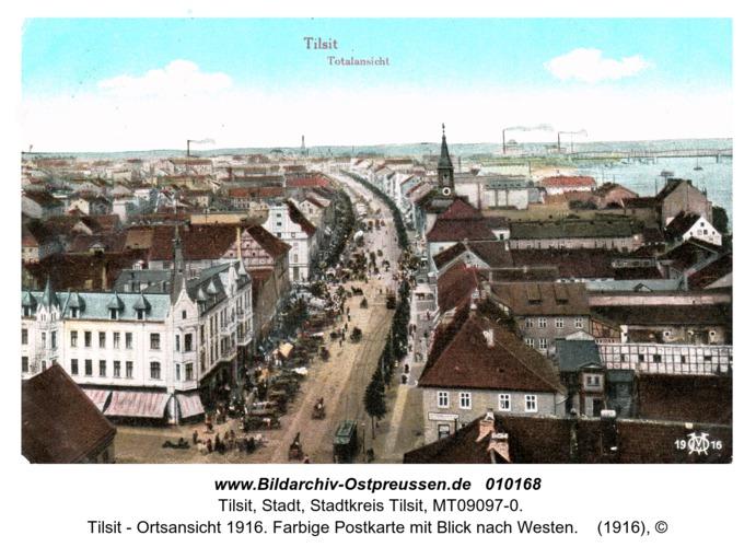 Tilsit - Ortsansicht 1916. Farbige Postkarte mit Blick nach Westen