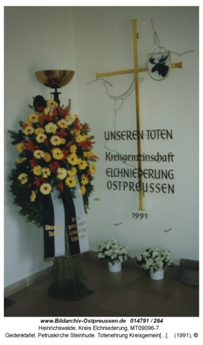 Gedenktafel. Petruskirche Steinhude. Totenehrung Kreisgemeinschaft Elchniederung