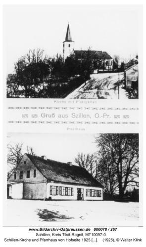 Schillen, Kirche und Pfarrhaus von Hofseite 1925 PK 2 Motive