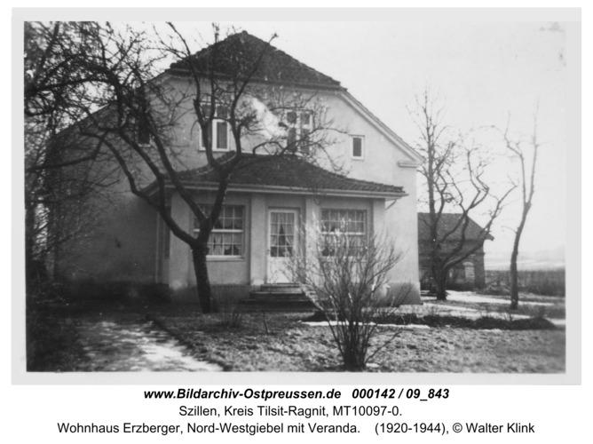 Schillen, Wohnhaus Erzberger, Nord-Westgiebel mit Veranda