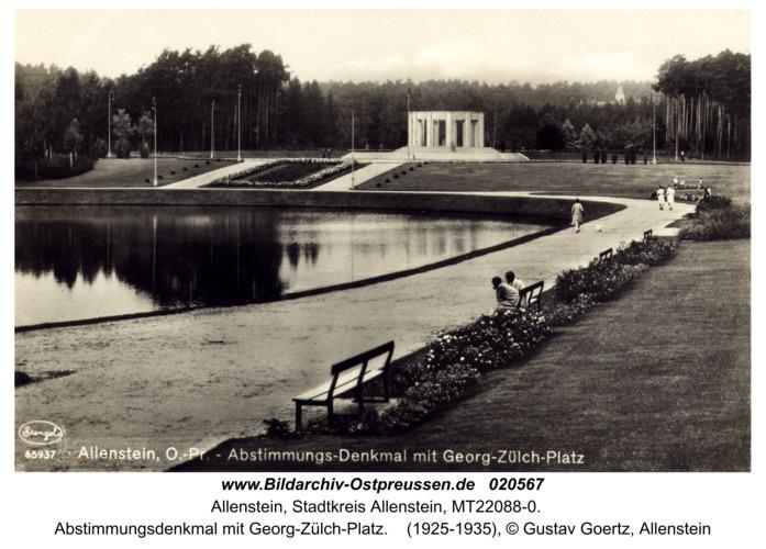 Allenstein, Abstimmungsdenkmal mit Georg-Zülch-Platz