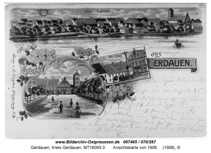 Gerdauen, Ansichtskarte von 1908