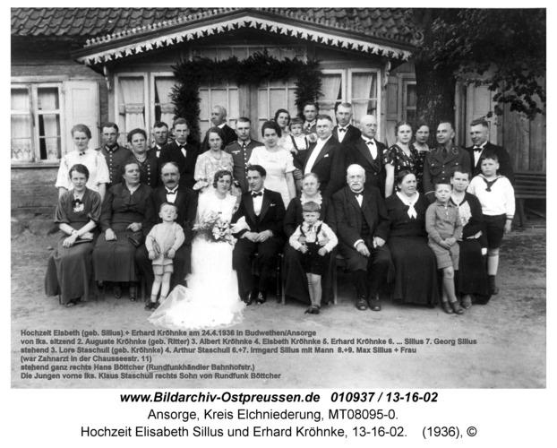 Ansorge, Hochzeit Elisabeth Sillus und Erhard Kröhnke, 13-16-02