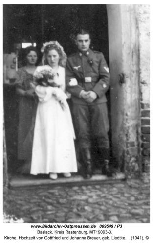 Bäslack, Kirche, Hochzeit von Gottfried und Johanna Breuer, geb. Liedtke