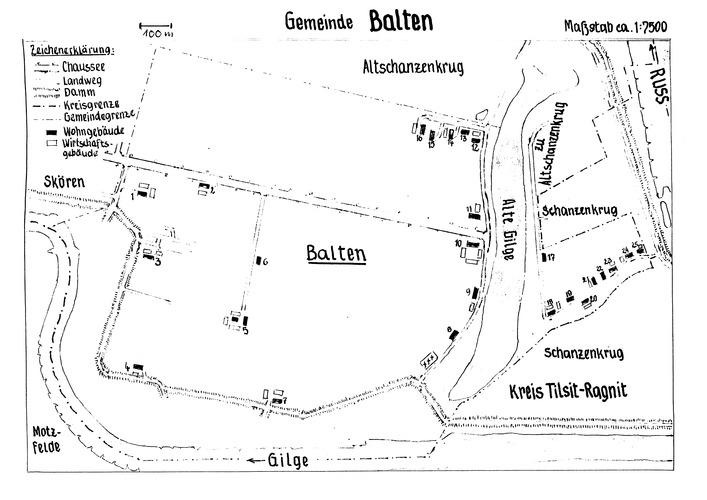 Balten (Baltruscheiten K.), Lage der Höfe und Wohnplätze, MT 0896-7
