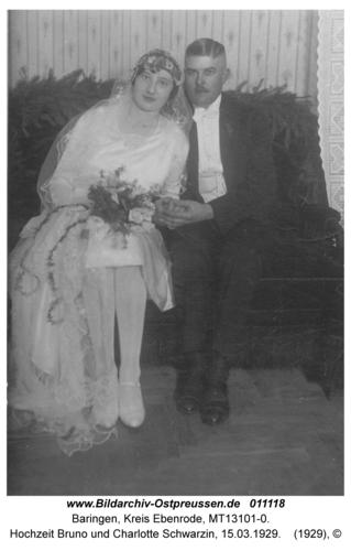 Baringen, Hochzeit Bruno und Charlotte Schwarzin, 15.03.1929