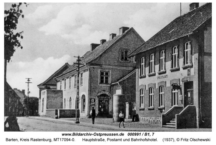 Barten, Hauptstraße, Postamt und Bahnhofshotel